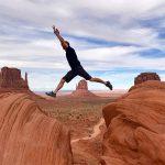 Jumping between rocks in the desert