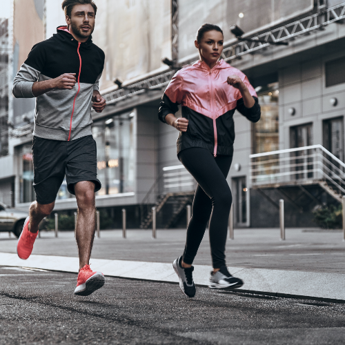 Male and Female running